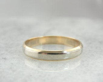 Vintage Two Toned 14K White and Yellow Gold Wedding Band 6EU3W1-D