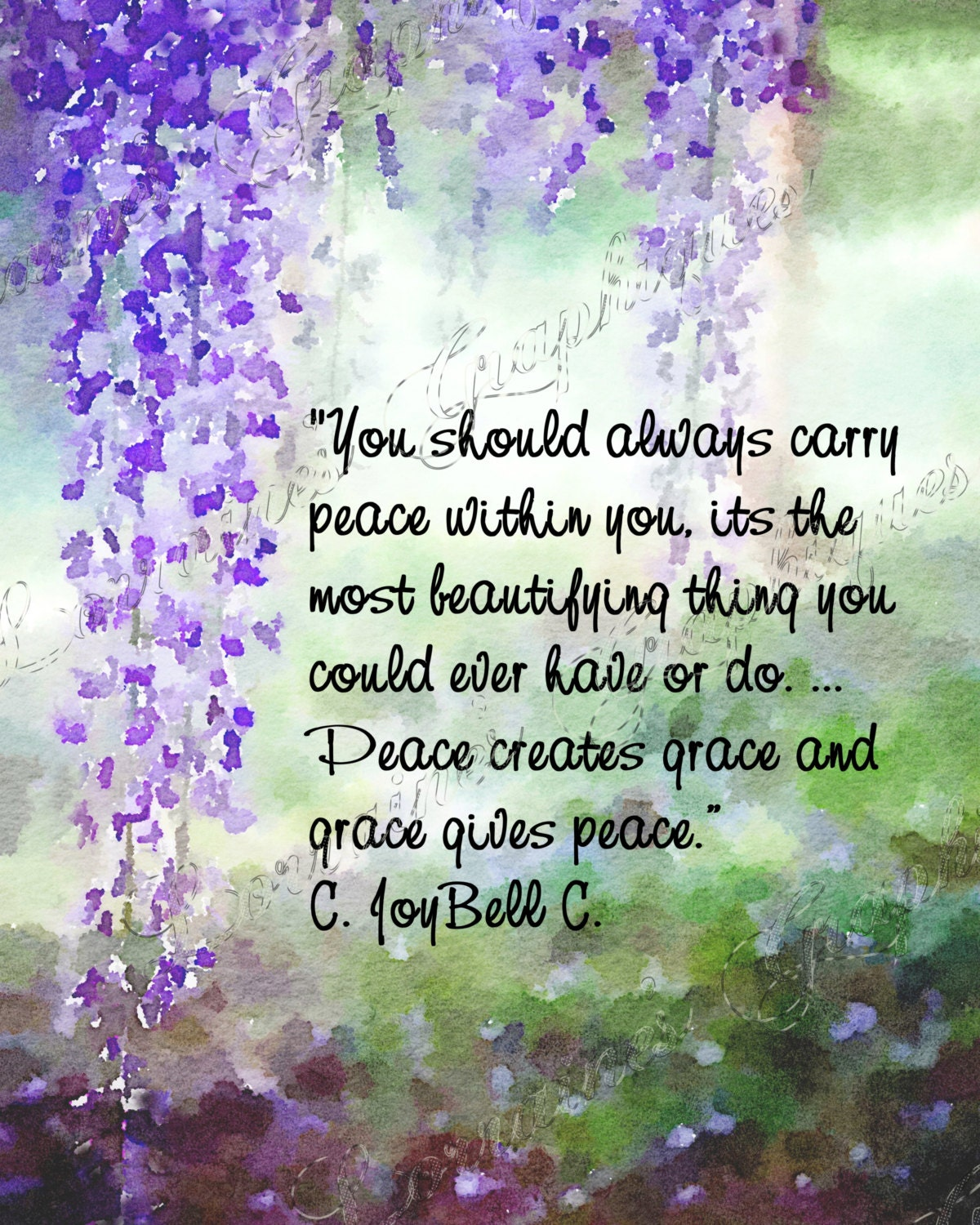 inner peace a wisteria watercolor fine art reproduction print with a c joybell cquote