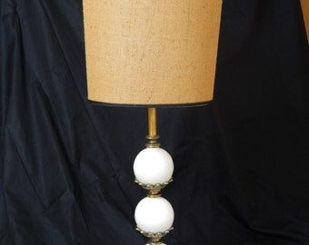 Very Large and Gorgeous Mid Century Ceramic Table Lamp with Unusual Burlap Shade