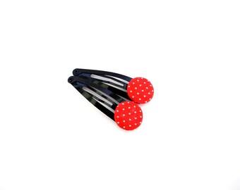 Polka Dot Hair Clips/ Red Button Hair Clip/ Children Hair Clip/ Red Polka Dot Hair Clips/ Red Snap Clips