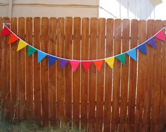 Rainbow Bunting, fabric banner, pennant flag birthday banner, party decoration, custom lengths
