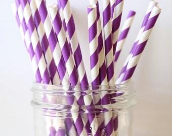Purple Party Straws, Purple Paper Stripe Straws 25, Wedding Bar Straw, Purple Wedding Decor, Purple Straw, Party Straws, Paper Straw