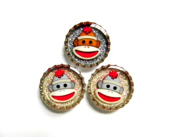 Bottle Cap Magnets - Sock Monkeys - Set of 3