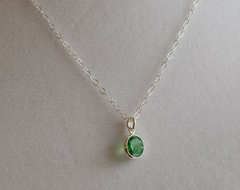 May Birthstone Necklace- Tiny Emerald CZ- Sterling Silver Chain
