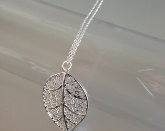 """Silver Chain Necklace 925 """"leaf"""""""