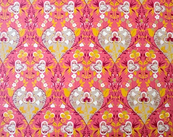 Retro Wallpaper - Vintage Pink, Orange, White and Antique Gold Floral Pattern - The Wallflower Shop