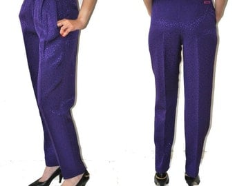 Vintage 80's High Waisted Purple Shiny Pants