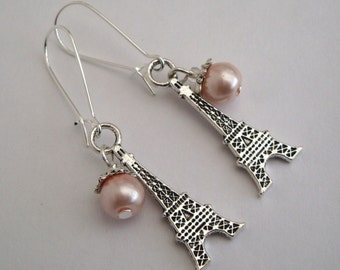 Eiffel Tower earrings, Paris silver charms, pink glass pearl bead