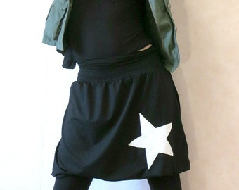 Black balloon skirt made of jersey with a white star, jersey skirt, midi skirt, skirt back and white