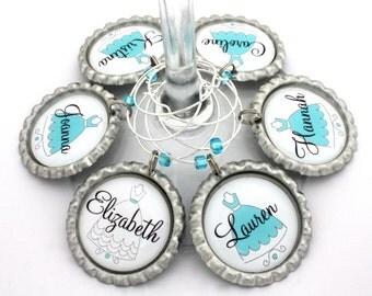 Bridesmaid bridal shower favors wedding gown wine charms bachelorette party drink tags.