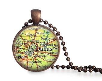 Dallas map necklace vintage Texas atlas pendant bridesmaid gift vintage travel Plano Grapevine.