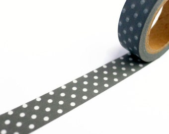 Grey Washi Tape with White Polka Dot Pattern - Spotty Masking Tape 10m x 15mm