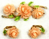 Vintage Signed ART Celluloid Rose Set of Brooch and Earrings / Peach / Gold Tone