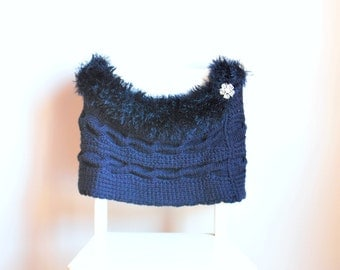 Blue shawl/ shrug/ wrap/wool and fur/ handknitting/ winter clothing/ women accessories/