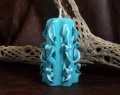 Turquoise Twist And Curls In The Colors of Shades of Turquoise & White Hand Carved Oil Burning Candle That Never Burns Down by LJ Greywolf
