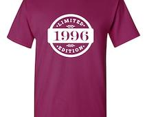 1996 Limited Edition 2015 Birthday T-Shirt 19th Birthday Gift 19 Years Old Mens Womens Ladies Shirt Tee Unisex Modern Custom B-419