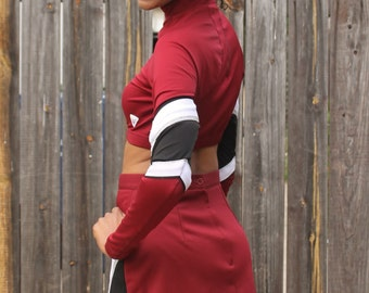 Early 90s Burgundy Cheer Crop Top Uniform