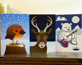 Robin, Reindeer and Polar Bear Cards — Pack of 3