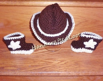 Crochet Newborn Baby Cowboy Hat & Boots Photo Prop Set Outfit Shower Gift and Keepsake 0-3 Months