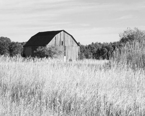 Old barn picture art photo print black and white Michigan