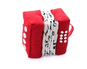 Red Accordion Softie Stuffed Toy Musical Instrument Plush for Babies and Toddlers