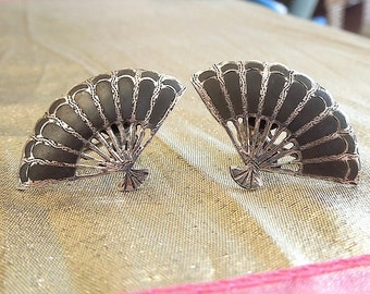 Old Siam Fan Sterling Silver Screwback Earrings