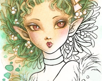 Digital Stamp - Instant Download - Mistletoe Fairy - Big Eye Holiday Elf  - Christmas Line Art for Cards & Crafts by Mitzi Sato-Wiuff