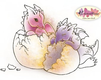 Digital Stamp - Instant Download - Dragon Babies - digistamp - Hatchlings - Fantasy Line Art for Cards & Crafts by Mitzi Sato-Wiuff