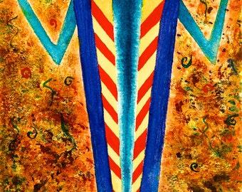 Native American Shaman Southwest Print of Original Watercolor 4.5x8.5 Home & Office Decor Petroglyphs, Yellow, Orange,Rust,Turquoise,