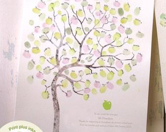 Fingerprint tree teachers gift, classroom gift, gift from children, teacher appreciation gift, thank you card, graduation LARGE A3 PLUS INKS