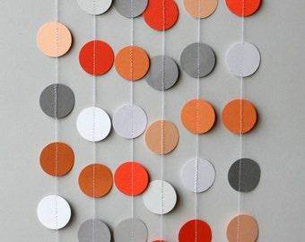 Orange & Gray garland, Birthday decoration, Birthday party garland, Nursery decor, Fall garland, Paper garland