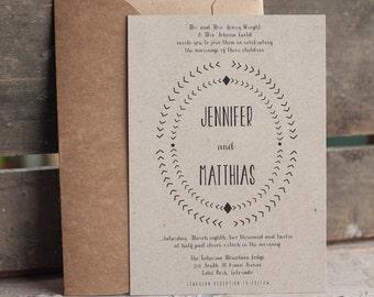 Kraft Wedding Invitation, rustic wedding invitation, arrows, eco friendly wedding invitation, typography wedding invitation set - The Arrow