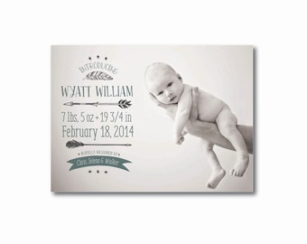 Feather + Arrows Birth Announcement