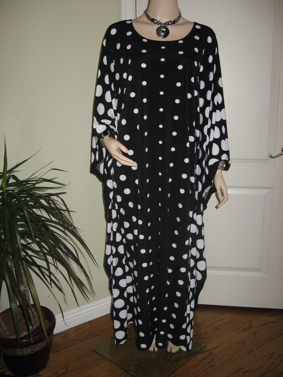 Black And White Polka Dot Maxi Dress Caftan Womens Kaftan