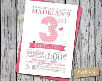 PRINTABLE 3rd Birthday Invitation - Garden Party, 1st, 2nd, 3rd or 4th Birthday Party 6x4 or 5x7 blue, pink, green, orange purple butterfly