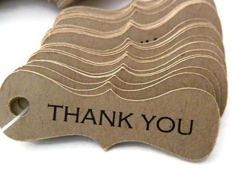 100 Count - Thank You Tags - Hang Tags - 1.5 x 0.75 inch - Kraft Tags - Mini Tags - Wedding Favor Tags - Jewelry Tags TY51