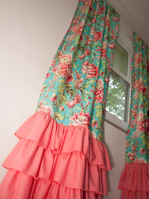 Floral Teal Coral And Mint Window Drape Curtain Panel Sold
