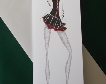 Greetings Card, fashion, fashion illustration, little black dress, black bodice, red shoes