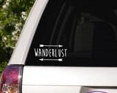 Wanderlust Typography Car Window Decal