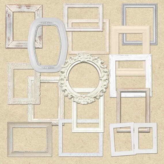 Shabby chic bianco legno cornici clipart di for Cornici per quadri shabby chic