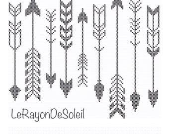 Modern cross stitch pattern indian arrows black white