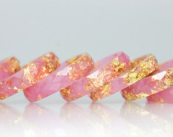 Resin Ring - Flamingo Pink Faceted Eco Resin Ring with Gold Flakes