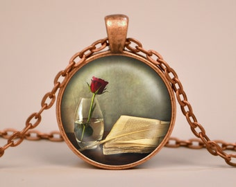 Vintage Book and Red Rose Pendant Necklace or Keyring Glass Art Print Jewelry Gifts for Her or Him Book Lover Teacher Librarian Writer Read