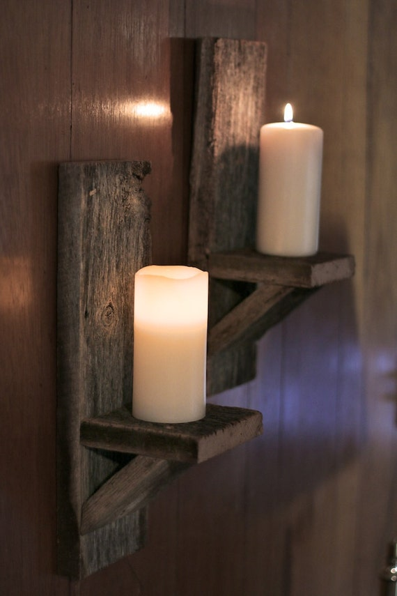 Wooden Wall Sconce Candle Holder : Barn wood candle holder Wall mounted candle by GrindstoneDesign