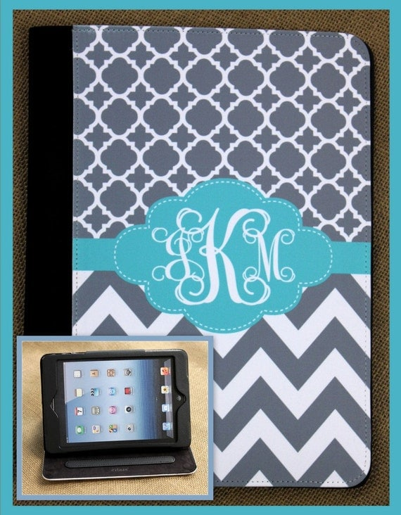 iPad Air iPad 2 3 Air Mini Cover Folio Monogrammed Personalized Custom Adjustable Angle Stand Notebook Case Accessories