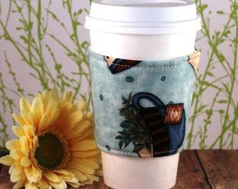 CLEARANCE / Fabric Coffee Cozy / Coffee and Tea Coffee Cozy / Coffee Cozy / Tea Cozy