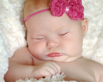 Pink Hair Bow, Baby Hair Bow, Pink Baby Headband, Newborn Headband, Newborn Hairbow