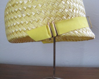 60s Yellow Woven Straw Hat