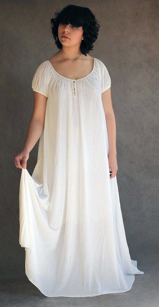 Full Sweep Nightgown Vintage 70s White Nylon Nightgown