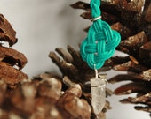 Turquoise / Teal Celtic Knot with Wire Wrapped Quartz Crystal Point Keychain